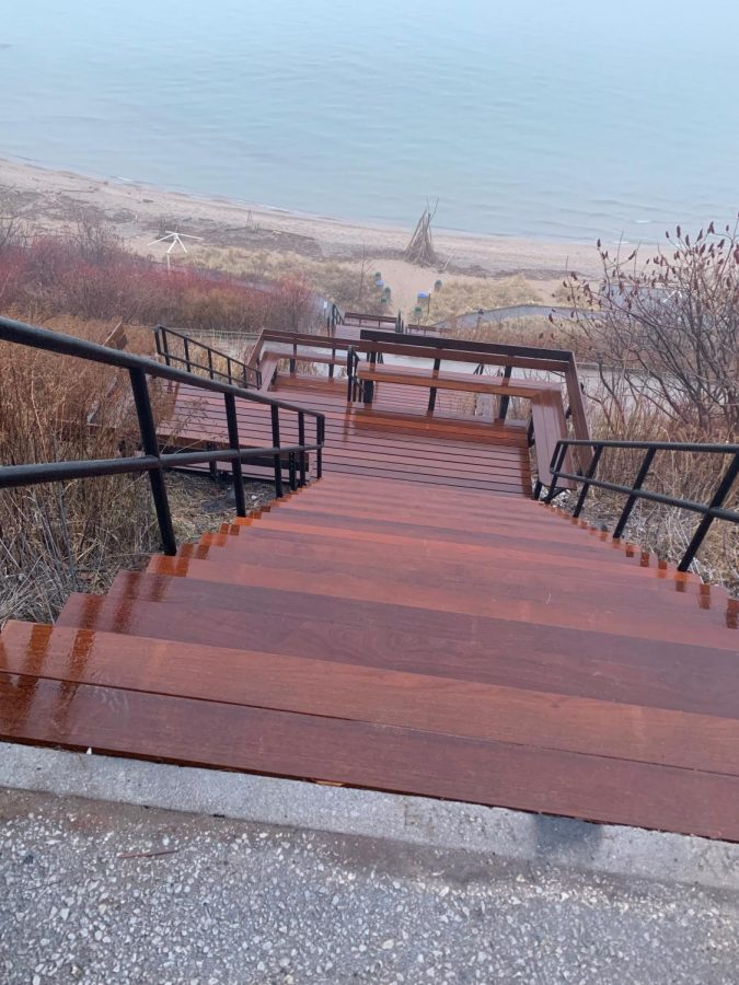 Photo of the new stairs leading down to Atwater Beach. The new stairs were put in this __, and should improve user safety.