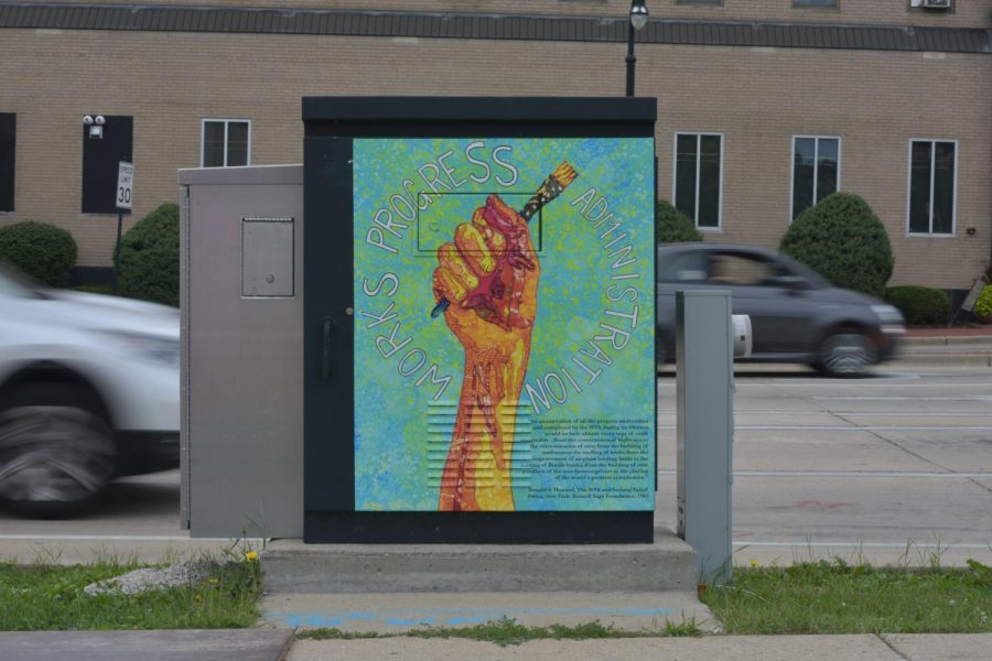 A painted traffic box on the corner of Capitol and Oakland. This box is one of many in the project called