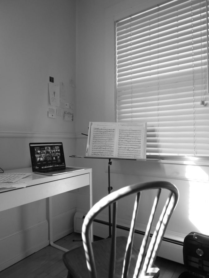 A student's laptop sits open for orchestra class. Virtual music classes have been especially challenging.