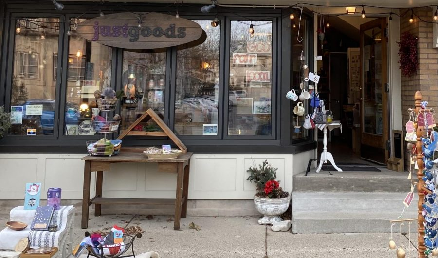 Storefront of Just Goods, a shop that sells locally sourced trinkets and art.