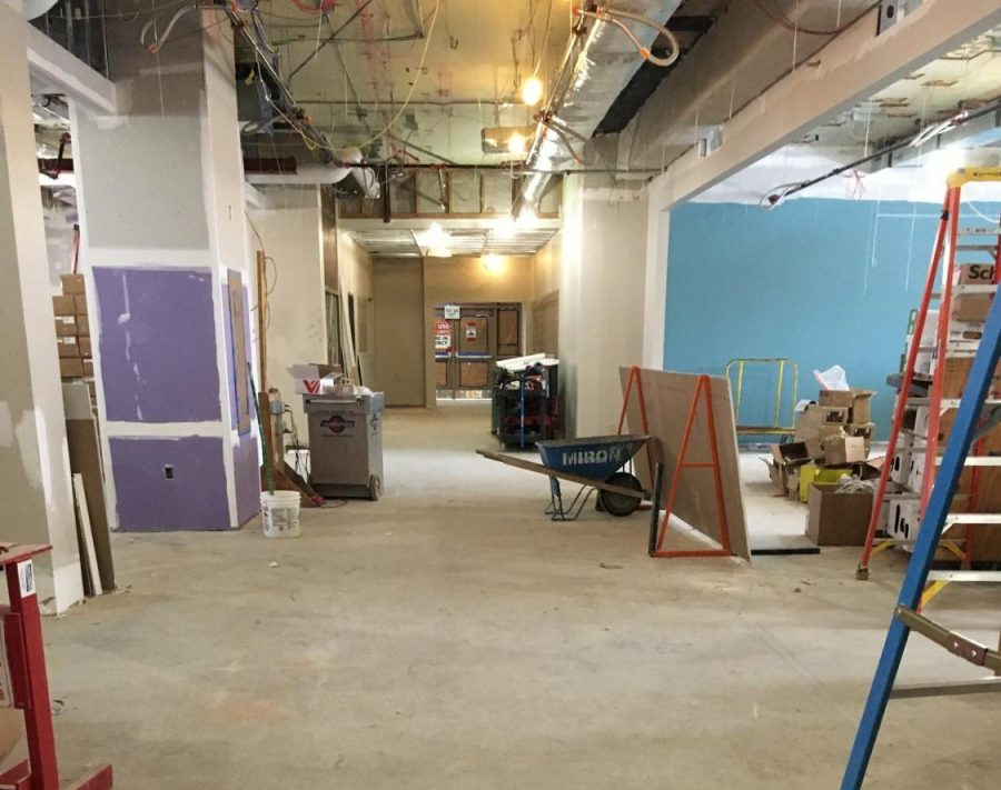The second floor of the high school administration building. The second floor has become a construction zone as the LMC is expanded by the new addition.