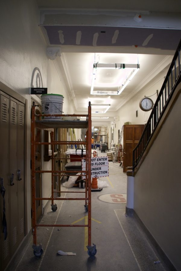 The inside of the administration building continues to be under construction as the school year begins.